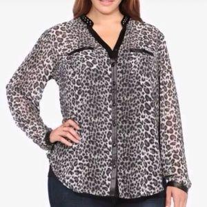 Torrid animal print, sheer blouse, studded neck, 3